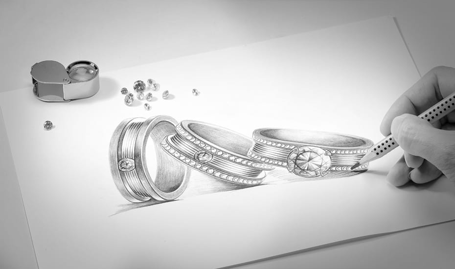 Love & Co.'s LVC Promise diamond solitaire collection   hand sketch