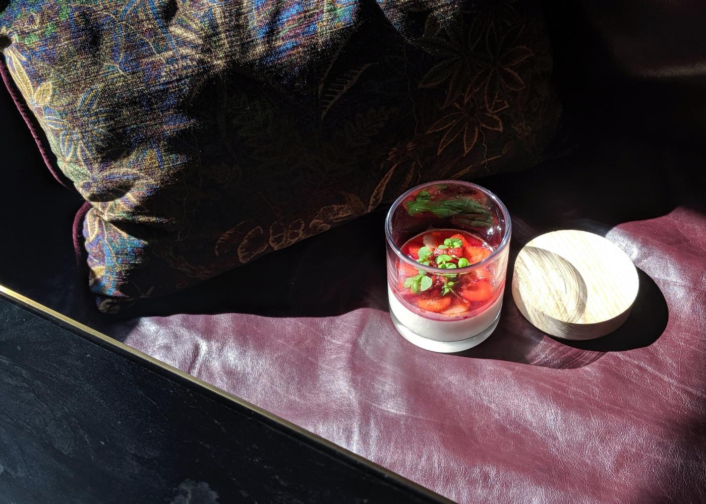 Atlas' panna cotta with strawberry