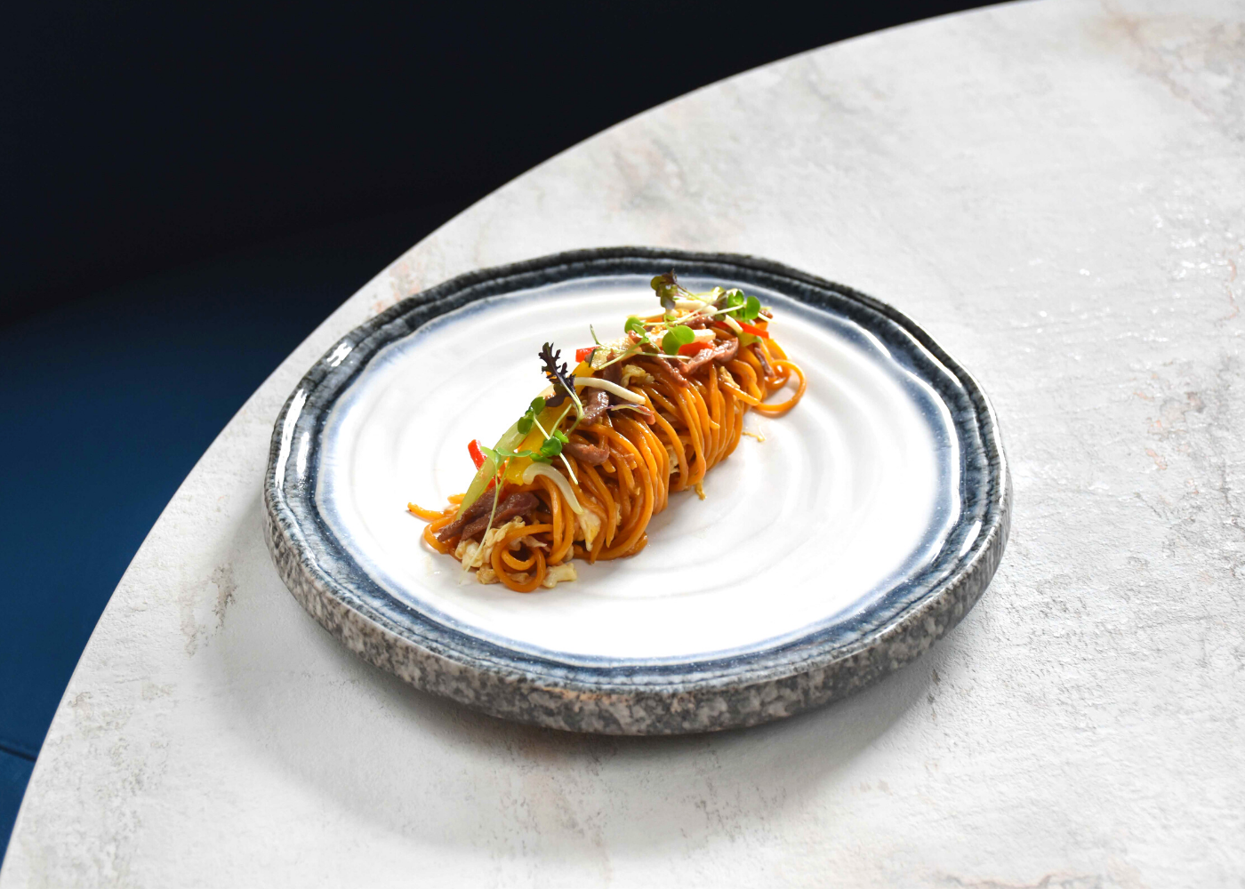 Slurp up this wok hei beef pasta. Photography: Mimi at the Riverhouse