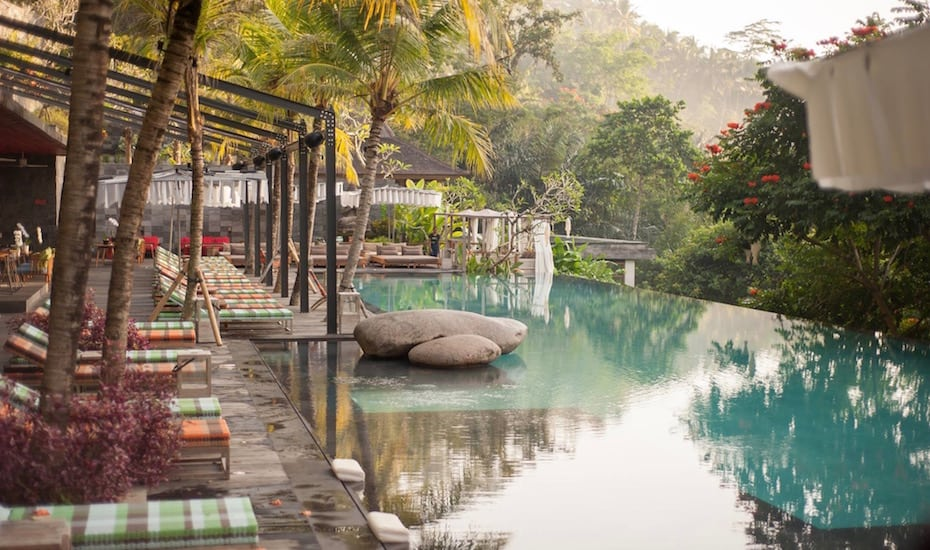 Infinity pools ay Jungle Fish Ubud in Bali, Indonesia