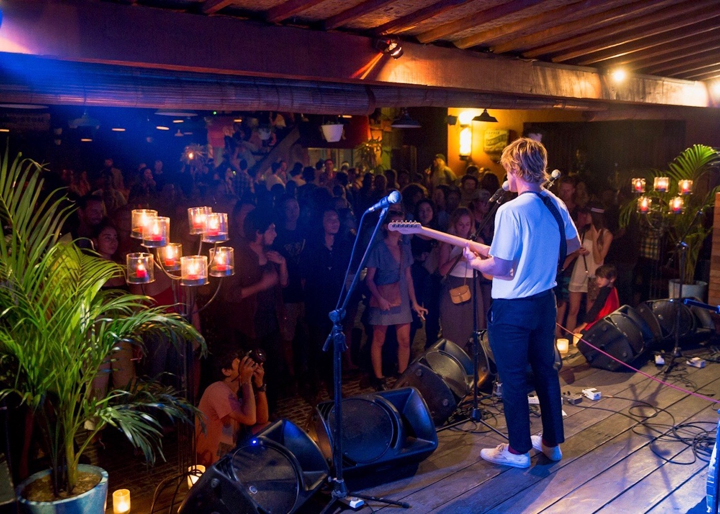 Live music at the bar at Deus Temple of Enthusiasm in Canggu, Bali, Indonesia