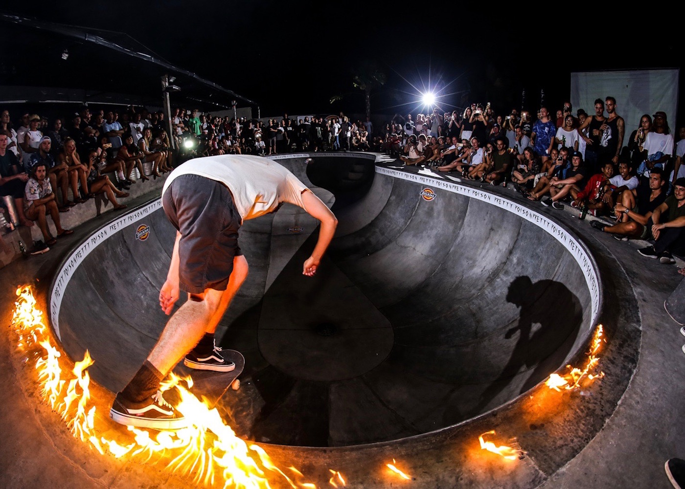 Skateboarding with at Pretty Poison bar in Canggu, Bali, Indonesia