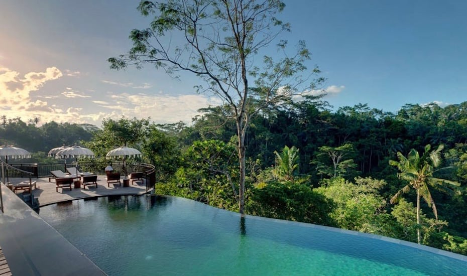 The jungle infinity pool at Komaneka Ubud Resort in Bali, Indonesia