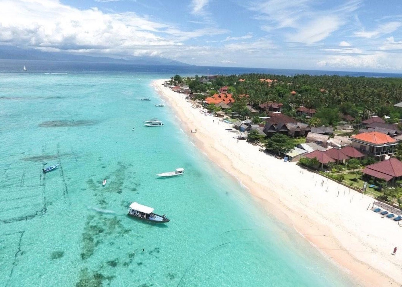 Aerial view of the white sand beach at Nusa Lembongan Island, Bali, Indonesia