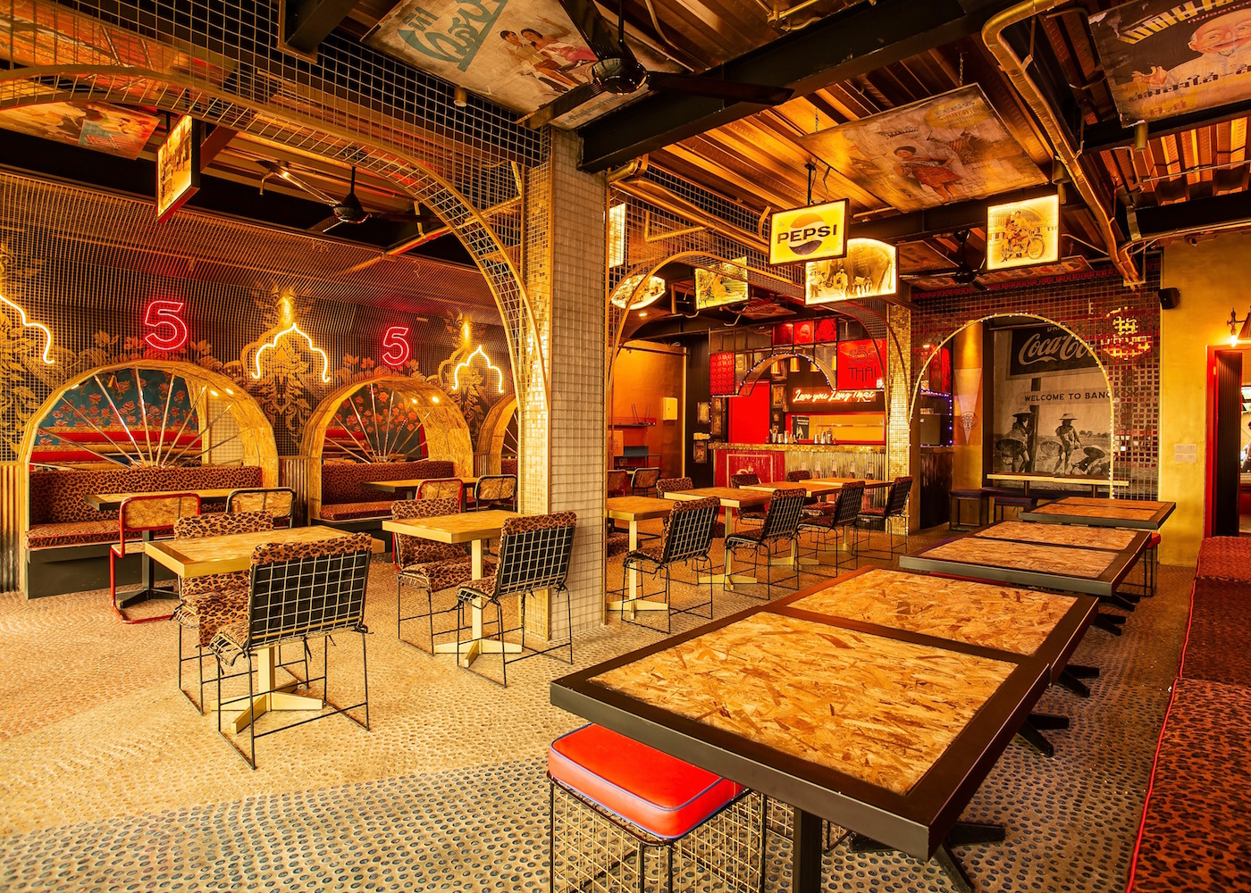 The red and gold interiors of the new 555 Thai restaurant in Canggu, Bali, Indonesia