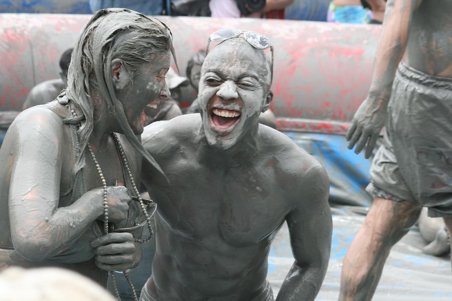 festivals in South korea people at Boryeong Mud festival