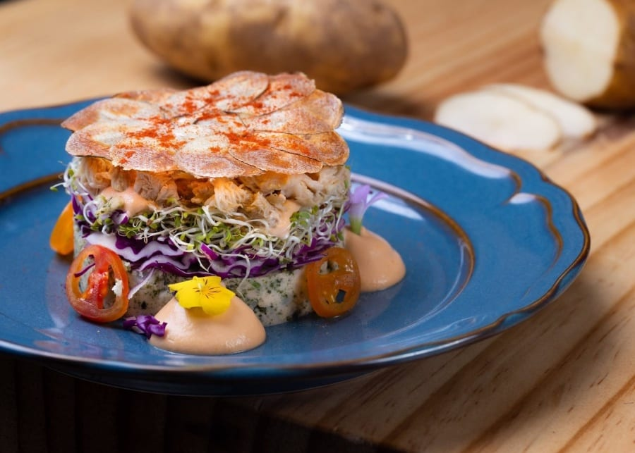 an elevated crab salad
